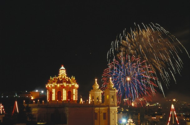 Malta, fireworks bloom over the church at Lija's catholic town feast; Lija has the best fireworks in Malta, and among the most creative in the world.